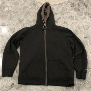 The north face gray hoodie w/ shearling like liner